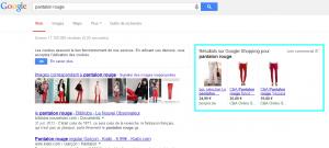 Exemple de recherche avec Google Shopping dans la SERP