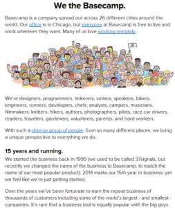 La page Qui sommes-nous de Basecamp: un exemple réussi!