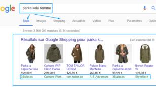 google shopping exemple digital marketing universem