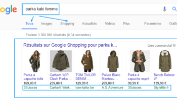 google shopping exemple digital marketing universem